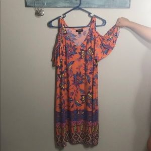 MSK orange print cold shoulder dress